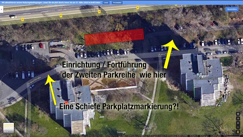 9142. Parkplatzreihe für mehr Ordnung; Fehlende Parkplatzmarkierung auftragen, schiefe Parkplatzmarkierung verbessern.